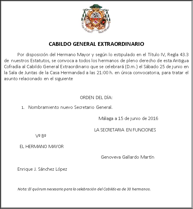 Convocatoria Cabildo General Extraordinario junio 2016 (PARA EL BLOG)